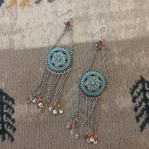 Teal and orange tassel metal earrings